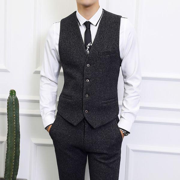 Outono homens coletes colete e calças de alta qualidade Magro design Preto e cinza nen pant colete Ásia tamanho S-6XL