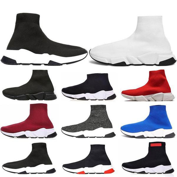 Nueva llegada calcetín diseñador de zapatos para hombres mujeres Speed Trainer moda lujo negro blanco azul brillo plana marca hombres zapatillas de deporte zapatillas 36-45