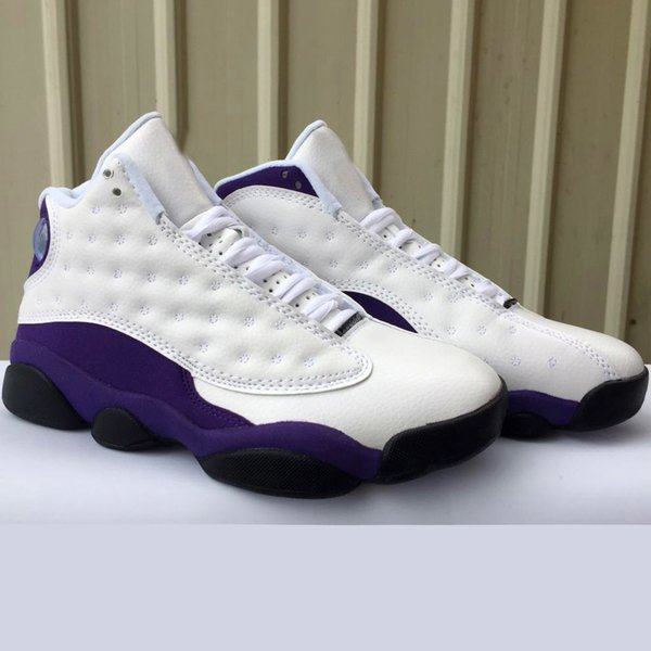 buy popular c2198 dbf70 2019 Mens Jumpman Retro Aj 13s Basketball Shoes J13 Lakers Rivals Purple  White Lebron 16 New Aj13 Air Flights Sneakers Boots With Box Size 7 13 From  ...