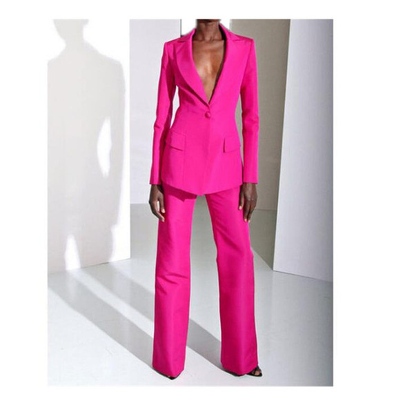 Customized new red fashion women's suit two-piece suit (jacket + pants) ladies pink single buckle casual business formal suit