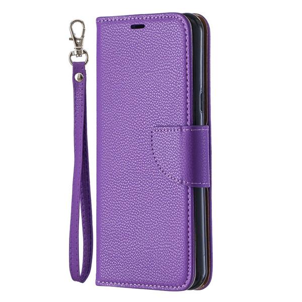 Flip Kapak Standı Cüzdan LG Stylo 5 Vaka Saf Renk Lichee Desen PU Deri Cep Telefonu Kılıfları Için LG K40 / K50 / Q60