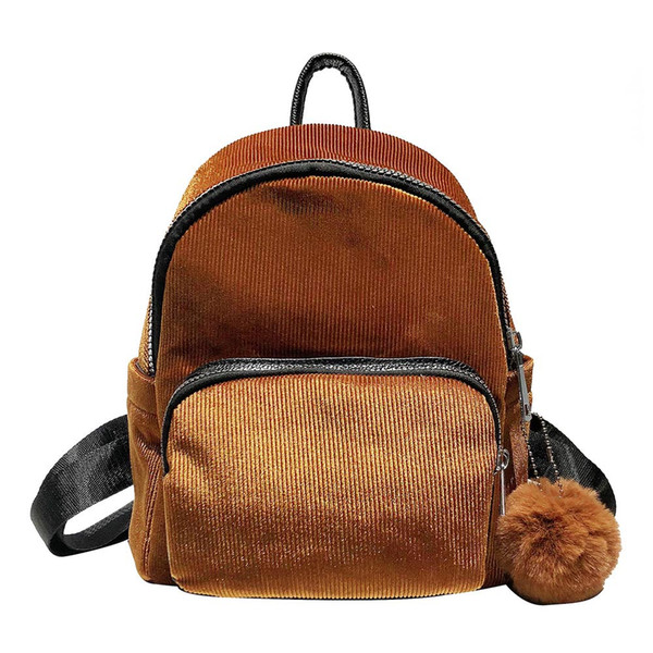 Casual women's backpack Corduroy Hair Ball mini backpacks for girls Student Travel school bags for teenage girls school backpack