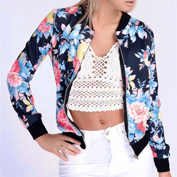 Couleur Denim Vestes Pour Femmes Féminine Manteau Dames Fleur FLoral Imprimer Zipper Up Femme Bomber Vestes Tranchée Manteau Coupe-Vent