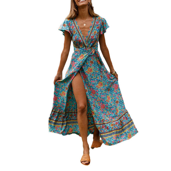 Boho Floral Print Long Maxi Women Chiffon Jumpsuit Split Summer Beach V Neck Short Sleeve Ladies Wrap Playsuits Robe Femme Q190524