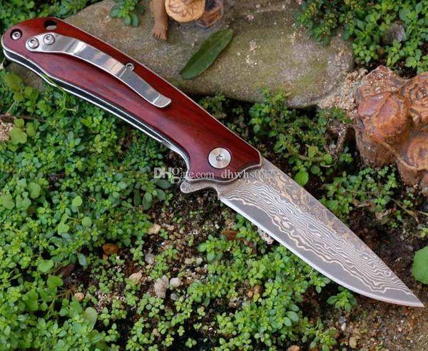 couteau de poche de camping pliable portable mini Damas d'acier modèle de mini-bois de coupe de la poignée de pliage couteau à fruits Outils Couteaux