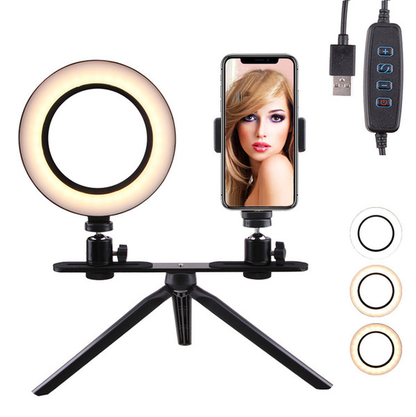 """Table LED Ring Light 6"""" 16cm 3200-5600K 64 LEDs Selfie Ring Lamp Photographic Lighting with Tripod Moblie Phone Clamp"""