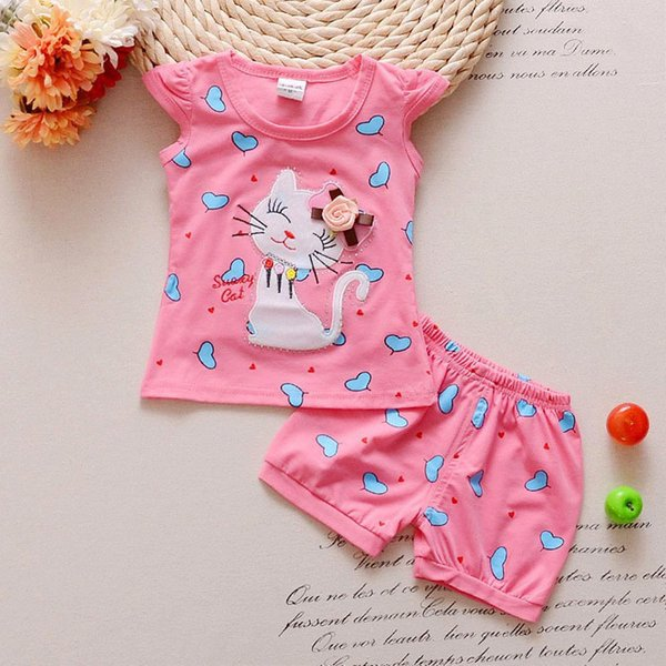 good quality 2019 summer baby girl clothing sets 2PCS cotton infant suit Cartoon cat T-shirt + Shorts suit for baby girls clothes
