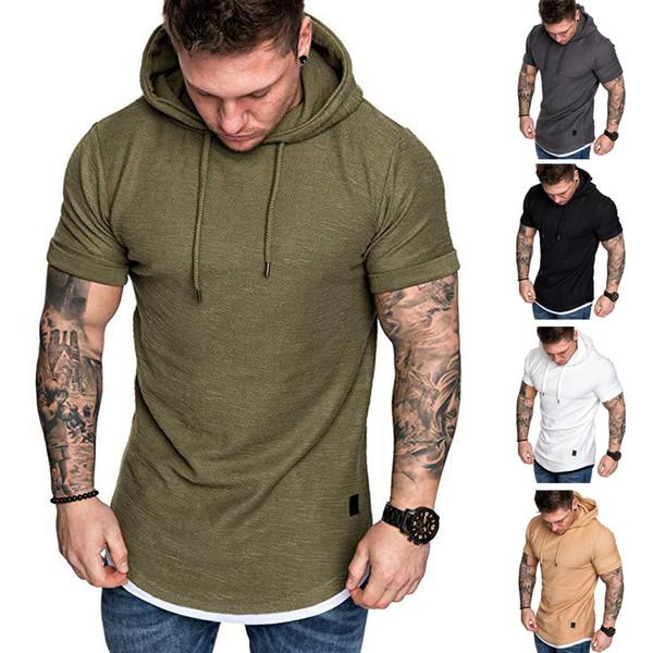 T-shirt Verão Mens Slim Fit 5 cores Casual sólidos Camisa de manga curta Tops Roupa hoodies Muscle T-shirt JY516