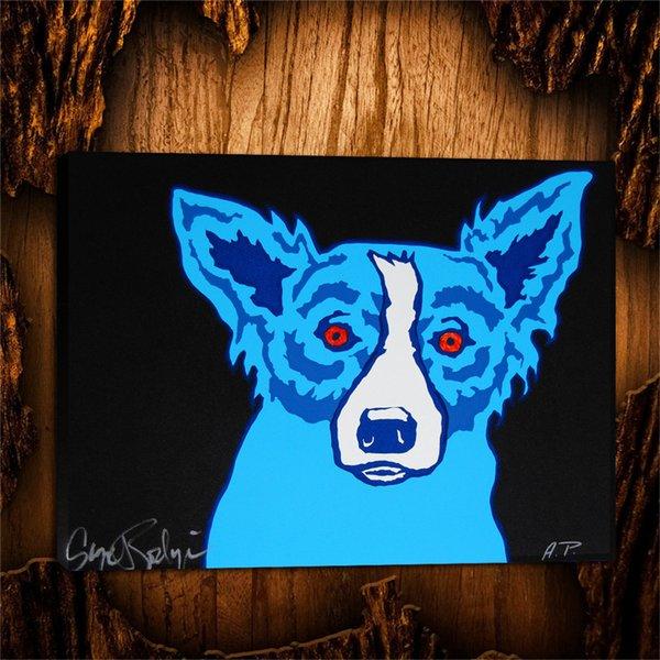 Blue Dog Top Dog, 1 Pièces Toiles Art mural, Peinture à l'huile, Décorations pour la maison (Sans cadre / encadrées) 24X32.