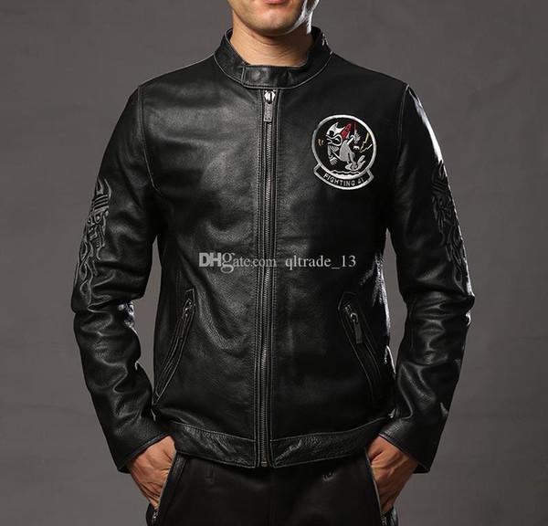Washing vintage black cow leather jackets flight 41 stand collar men genuine leather jacket