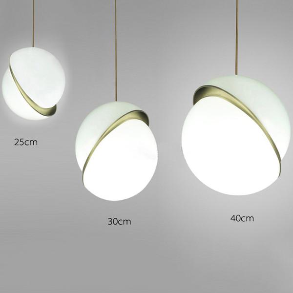 Venta al por mayor D25 / 30 / 40CM Postmodern y Nordic White Globe Chandelier Lighting Comedor Restaurante Bar Lámpara colgante
