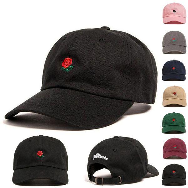 Parejas bordadas de flores Gorra de béisbol Encantadora Ajustable Flor de Rose Casquillo de la bola Moda Playa Casual Visera Sombrero TTA679