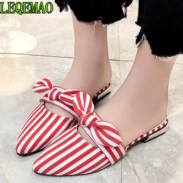 Femme diapositives plates demi pantoufles dame noir blanc rayé chaussures femmes appartements pantoufles arc mules chaussures été taille 35-40