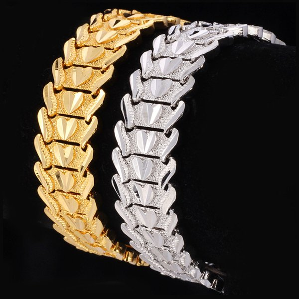 2019 Classic Couple Heart Bracelet 18K Gold/Platinum Plated Chunky Lovely Bangles Fashion Jewelry Gift For Love Free Shipping