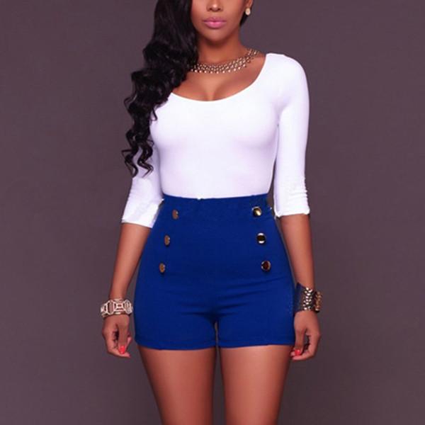 1 Unids Mujer Dama Alta Cintura de Color Sólido Botón Shorts de Cremallera para Verano TY53