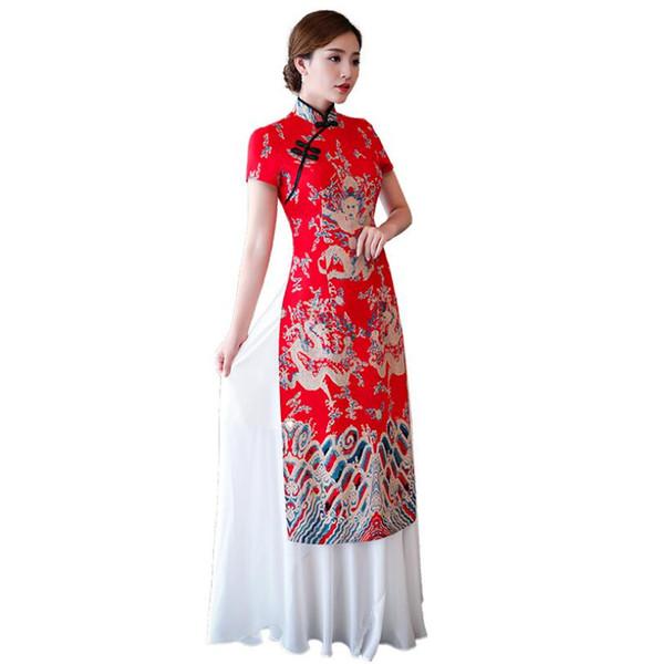 Red Chinese Traditional Women Aodai Qipao Vintage Cheongsam Novelty Chinese Formal Dress Plus Size S M L XL XXL 3XL 4XL 5XL