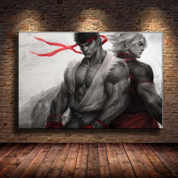 (Senza cornice / Cornice) Street Fighter, 1 Pezzi Stampe su tela Wall Art Olio su tela Home Decor 24X36.