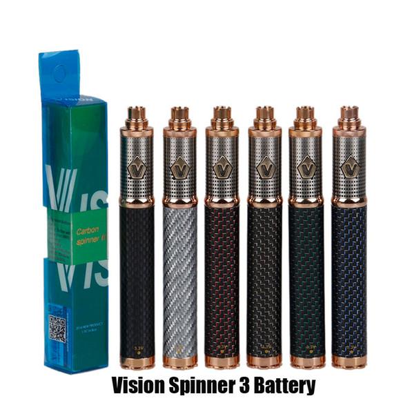 Vision Spinner 3 III Batteria in fibra di carbonio 1650mAh Voltage variabile VV 3.3-4.8V Batteria per 510 Ego CE4 E Sigaretta atomizzatore Serbatoio