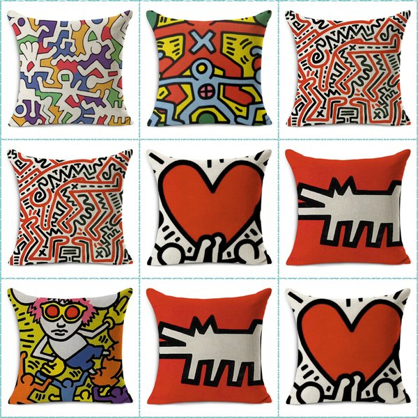 best selling Keith Haring Pop Art Throw Massager Pillow Case Decorative Pillows Warm Home Decor Vintage Gift