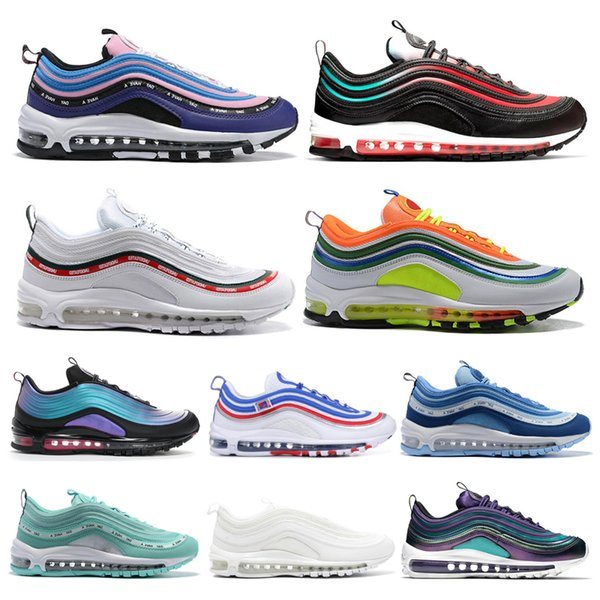 Scarpe Donna Sportive Nike Air Max 97 97s Shoes 2019 Scarpe Da Corsa Uomo NEON SEOUL Throwback Future London Summer Of Love Jayson Tatum Triple Nero