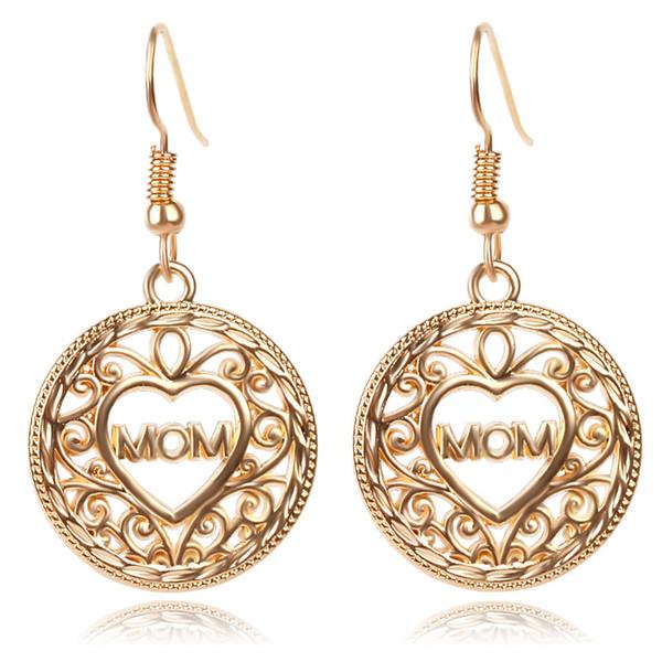 Fashion Gold Plated Hollow Rhinestone Heart Fringe Ear Drop Hook Dangle Earrings