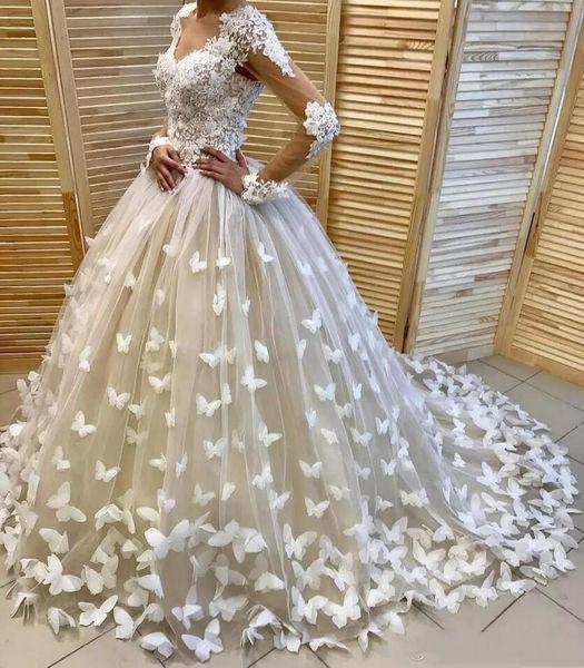 3D borboletas apliques de vestidos de casamento lace top sheer mangas compridas vestidos de noiva custom made tule trem da varredura vestidos de casamento custom made