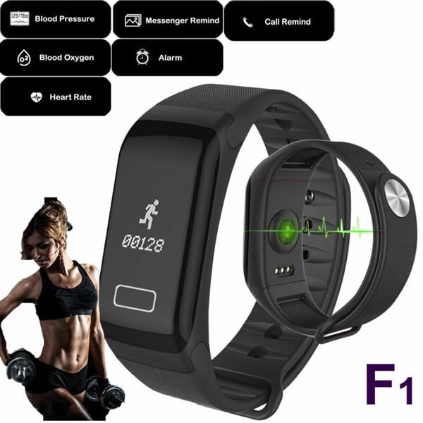 Erkekler Kadınlar Spor Akıllı Bileklik Saat Bluetooth Saat heartrate Tansiyon * F1