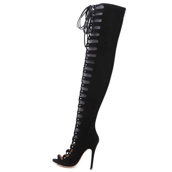 Sexy cut-outs lace up thigh high boots women's shoes peep toe stilettos high-heels gladiator sandal over the knee boots mujer 40