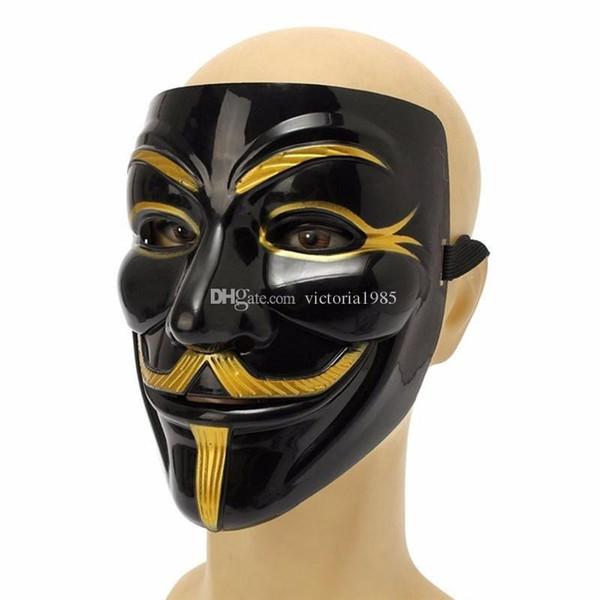 Máscara de la mascarada V Máscaras para Vendetta Anónimo Decoración de fiesta de la bola de San Valentín Cara completa Máscara de fiesta súper asustadiza de Halloween