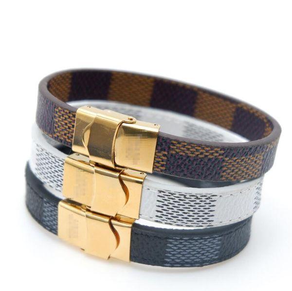 Fashion Designer Mens Bracelets Stainless Steel Black Leather Bracelet Wristband Bangle Punk Style Bracelets For Women