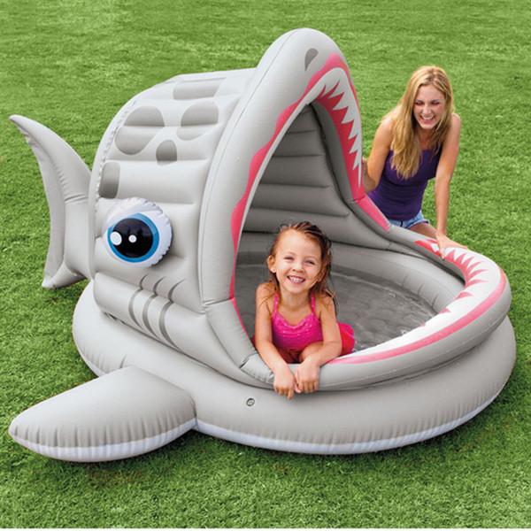 Intex Roaring Shark Shade Pool Inflatable Parasol Pool Sunshade Swimming Canopy Paddling Pool For Baby Toddler Children