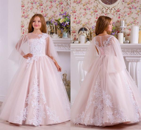 Belle fille de dentelle rose clair Appliqued à plusieurs niveaux robe de fille Vintage Tulle fille anniversaire Prty Pageant robe robes de mariée formelle
