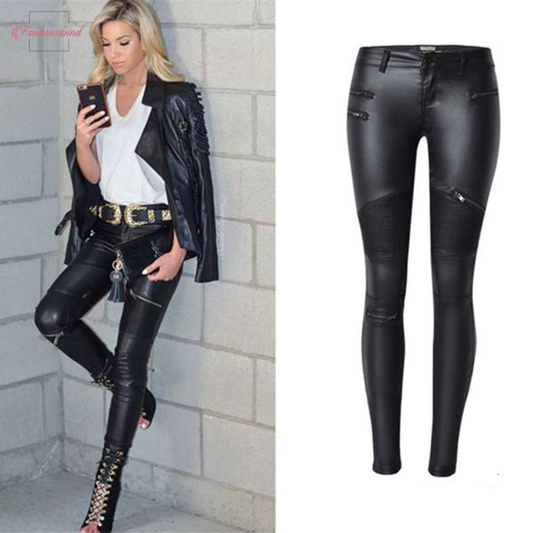 Donne pantaloni di pelle Faux Bassa chiusura lampo dei pantaloni Pantaloni di pelle Leren donna elastici Pantaloni trasporto di goccia di buona qualità