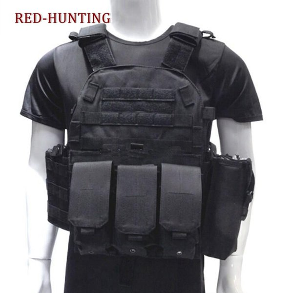 2018 men's tactical vest army hunting molle vest outdoor body armor swat combat painball black thumbnail