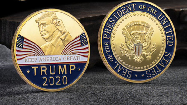 top popular Great fashion 2020 Donald Trump Commemorative Coin American President Avatar Gold Coins Silver Badge Metal Craft Collection Republican 2020