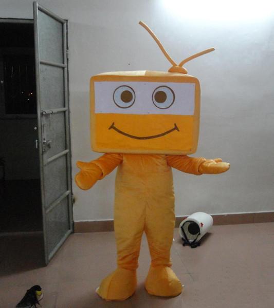 2018 высокое качество горячий ТВ костюм талисмана желтый милый ТВ костюм Рождество День Рождения необычные платья Бесплатная доставка