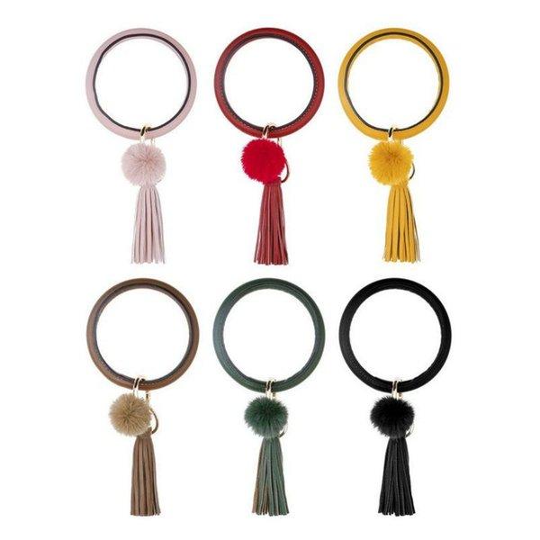 Kadınlar yüksek kalite için yeni Bohemya PU Deri Bileklik Anahtarlık Bileklik Moda Altın Gümüş Büyük Çember Anahtarlık Püskül Bilezik