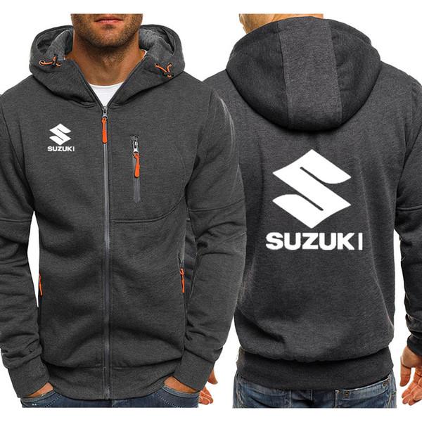 Толстовки мужские Suzuki Car Logo Распечатать Повседневный хип-хоп Harajuku с длинным рукавом толстовки с капюшоном Мужская молния куртка человек с капюшоном одежда
