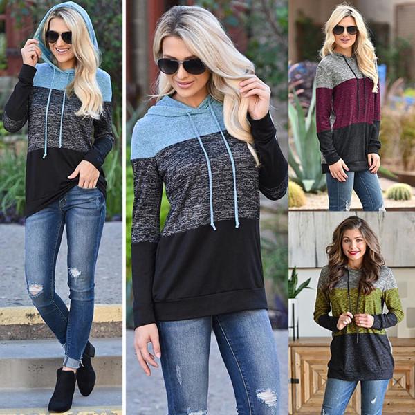 Penwom mulheres outono e inverno camisola com capuz três cores costura impressa pulôveres tops estilo Slim rua