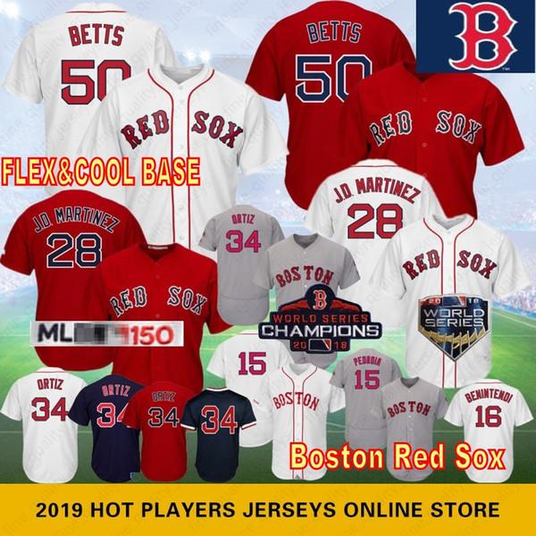 50 Mookie Betts 28 JD Мартинес Бостон Ред Бейсбол Джерси 34 Ортис Сокс 19 Джеки Брэдли-младший 41 Крис Сэйл 16 Бенинтенди 15 Дастин Педройа
