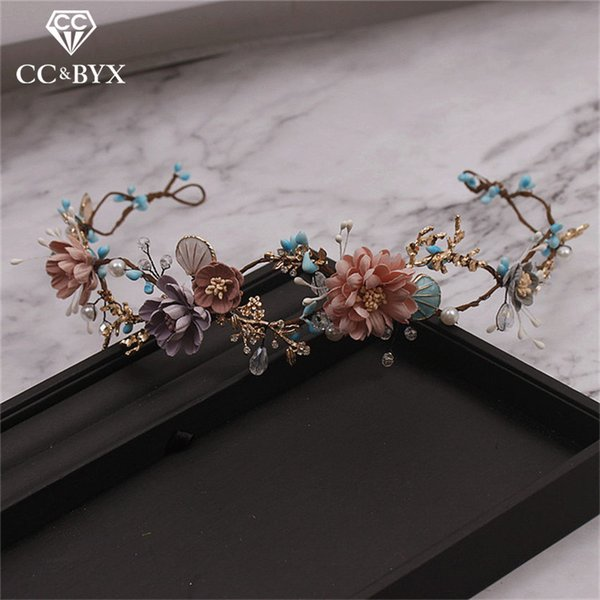 Cc Wedding Jewelry Hairbands Crown Forest Style Seaside Party Engagement Hair Accessories For Bridal Flower Beads Yarn Gift 9870 J 190430