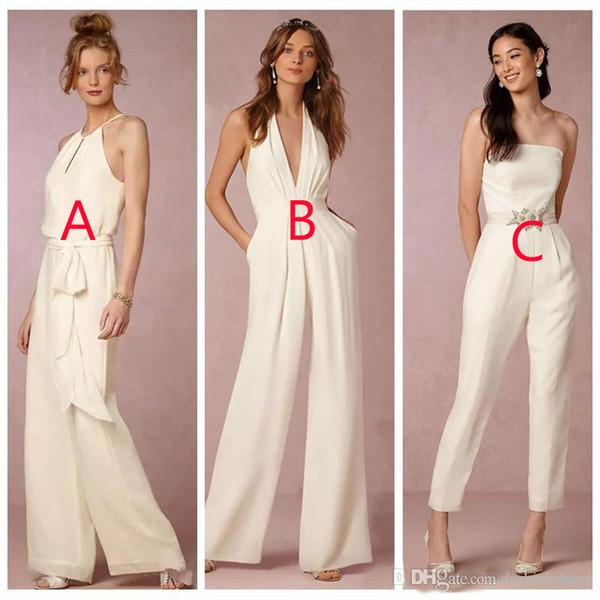 378c4df29cad 2019 Elegant Jumpsuit Bridesmaid Dresses for Wedding Sheath Backless  Wedding Guest Gowns Plus Size Pant Suit