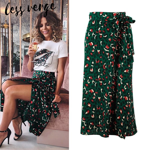 Lessverge Verde uma linha arco split ponto midi saia Elegante cintura alta saia de leopardo streetwear Vintage bodycon saias mulheres mujer