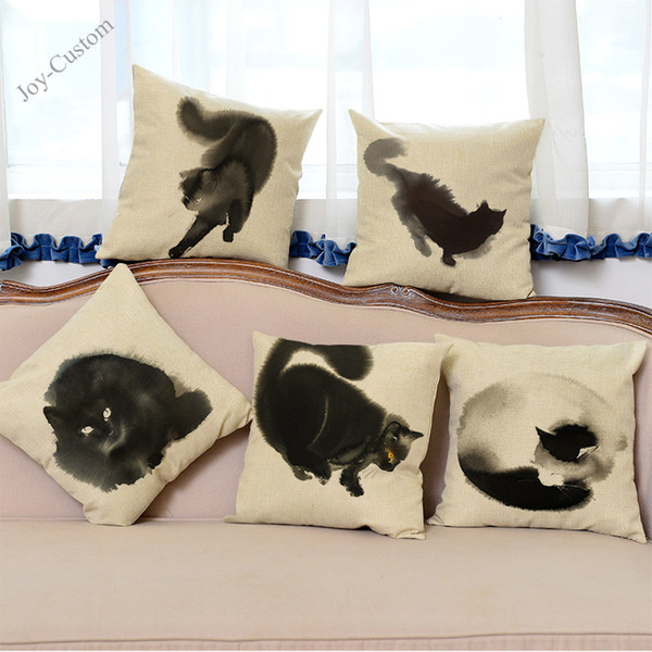 Ink And Wash Style Black And White Cat Design Pillow Case Household Office Sofa Chair Decorative Cushion Cover