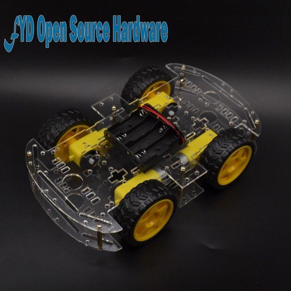 Freeshipping 1 pc Motor Smart Robot Car Chassis Electronic Manufacture DIY Kit Speed Encoder Battery Box 4WD 4 Wheel Drive Car