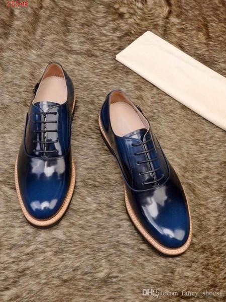 Yeni nefes stil resmi iş deri erkek ayakkabı İtalya Dantel Oxford ayakkabı Baskılı stripes düğün rahat ayakkabılar