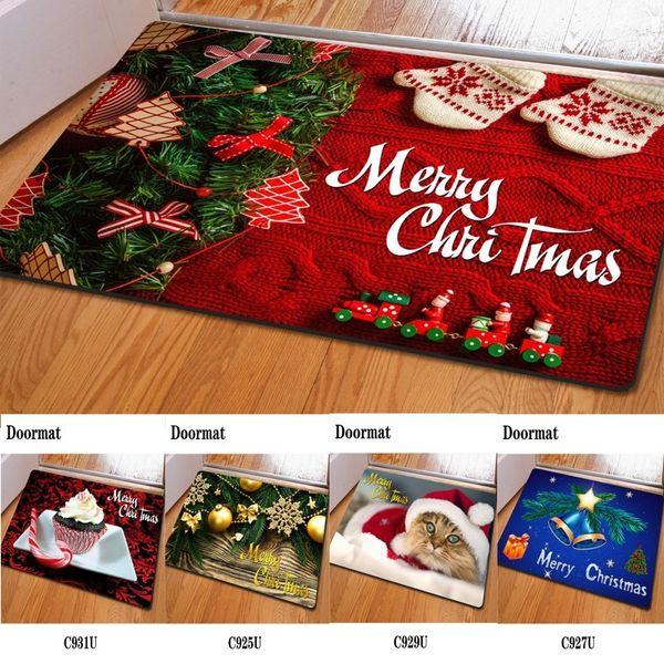 Nova Chegada de Natal Impressão 3D criativa Mat Non Slip criativa Quarto Rug Feliz Natal Capacho Chão Tabela Mat Café
