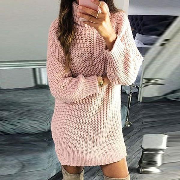 CYSINCOS Yeni Sonbahar Kış Bayan Uzun Triko Kazak Turtleneck Katı Renk Triko İnce Moda Örme Elbise Kadınlar