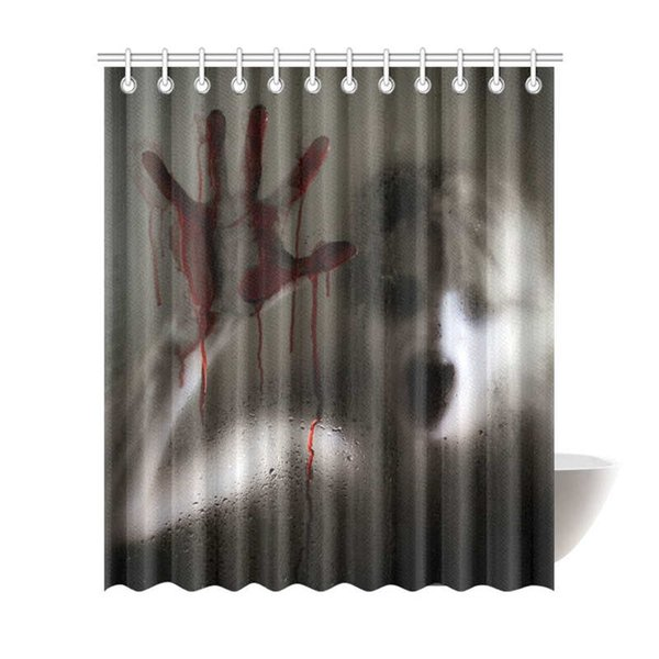 Horror Scene of a Woman with Bloody Hand Halloween Theme Decor Shower Curtain for Bathroom Bathroom Shower Curtain Set with Rings, 72(Wide)