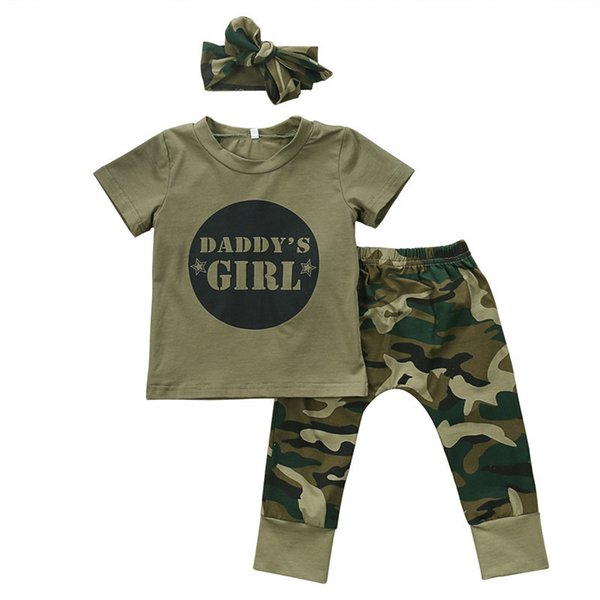 Cute Boys Girls Clothes short sleeve letter print pullover round neck T-shirts camouflage Pants Bow Headband 2 or 3pc cotton Set Y190515